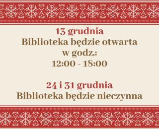Zmiana godzin otwarcia w grudniu.